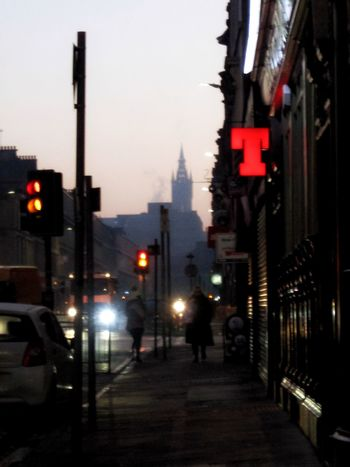Illuminated Street Architecture City Going To Work Early Morning Before Sunrise GlasgowUniversity Tennents