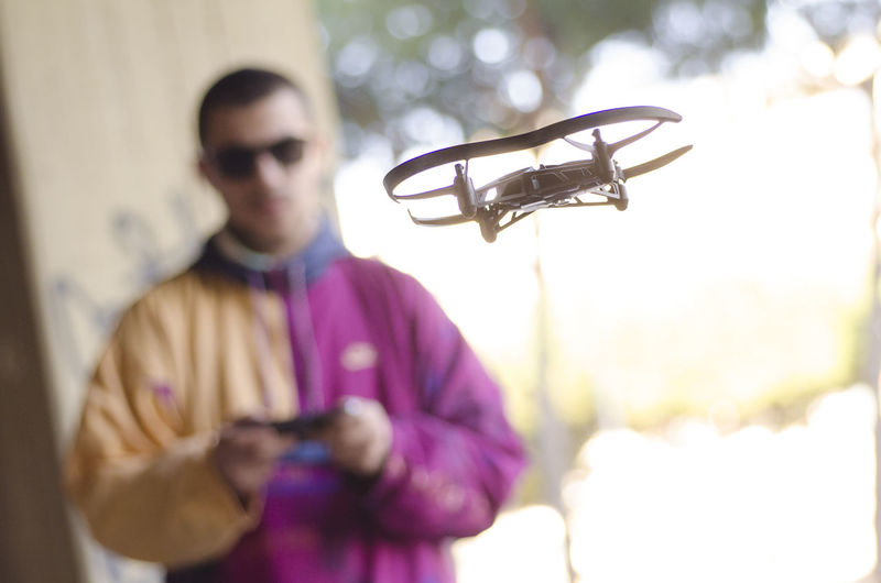 Young man with drone