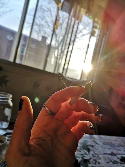Human Hand Nail Polish Human Finger Close-up Sky Personal Perspective Ring