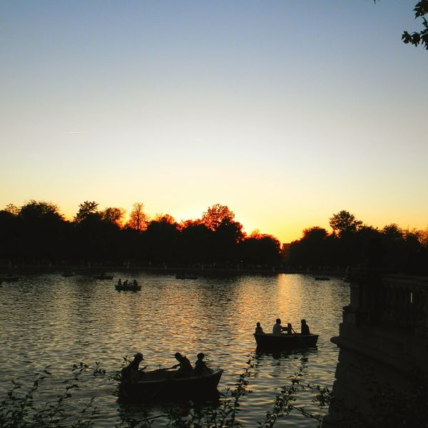 Sunset Silhouette Lake Water Outdoors Sky Tranquility Nature Scenics Retiropark Madrid Spain