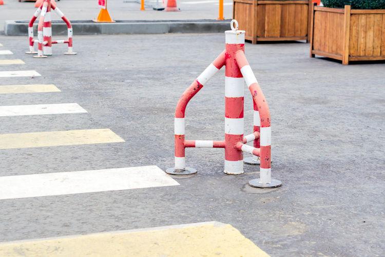 Zebra crossing on road in city