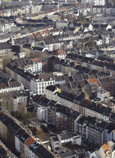 High angle view of buildings in city dusseldorf