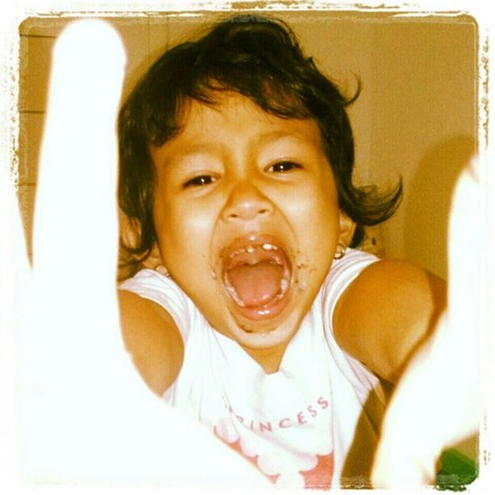 ChaCha after finishing her favorite Jcodonuts with Oreo flavor.. so happy!