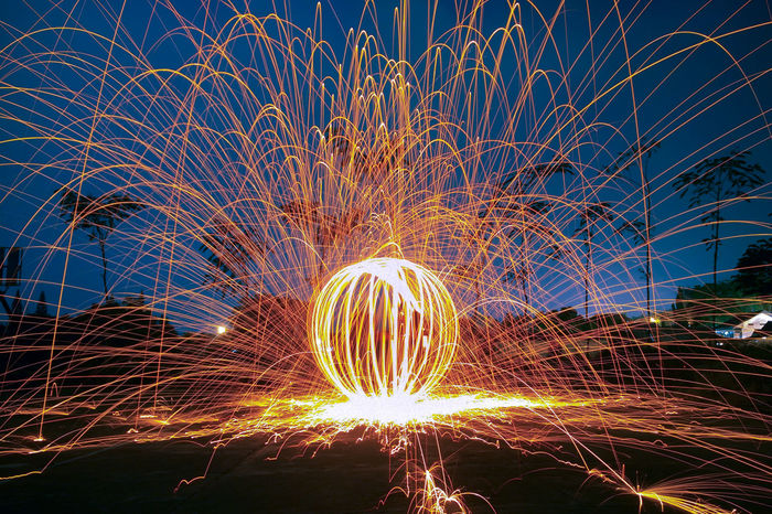 Ball of Fire Wire Wool Fireball Illuminated Motion Crash Long Exposure Arts Culture And Entertainment Celebration Flame Burning Light Painting Firework - Man Made Object Sparks Glowing Event Light Trail Firework Display Firework Spinning Sparkler Exploding Entertainment Fire - Natural Phenomenon