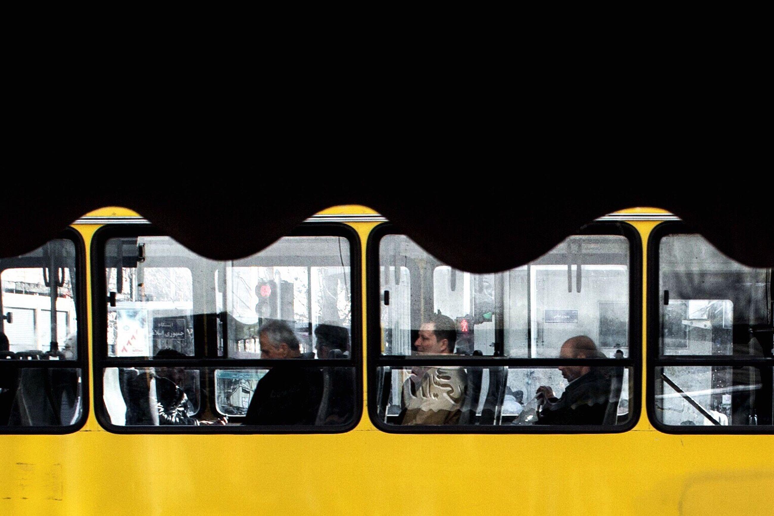 transportation, mode of transport, public transportation, window, train - vehicle, yellow, land vehicle, real people, day, men, subway train, outdoors, adult, people
