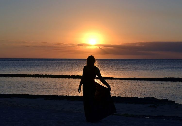 Backlight Beautiful Tramonto Woman Beach Beatiful Girl Beauty In Nature Horizon Horizon Over Water Lifestyles Model Modella One Person Orange Color Outdoors Posing Real People Sea Silhouette Skirt Sky Sunlight Sunset Water Woman Portrait EyeEmNewHere
