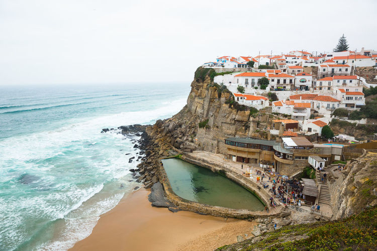 Azenhas Do Mar Portugal Beach Day High Angle View Natural Pool Outdoors Pool Sea Travel Water Wave
