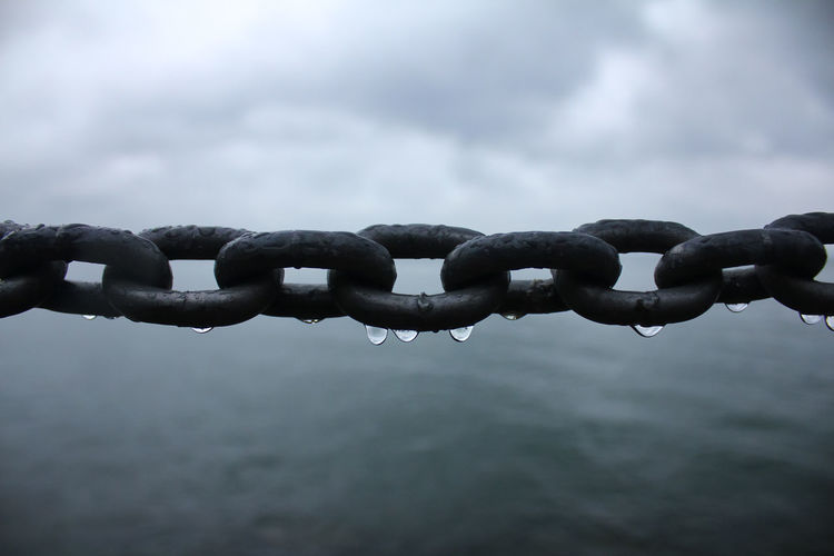 Close-Up Of Metallic Chain Against Sky