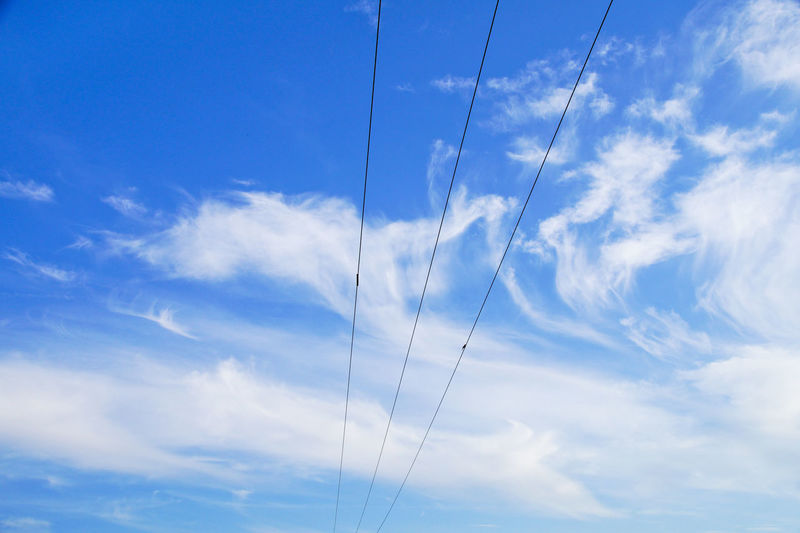 Beauty In Nature Blue Cable Cloud - Sky Day Low Angle View Nature No People Outdoors Scenics Sky Tranquil Scene Tranquility Vapor Trail