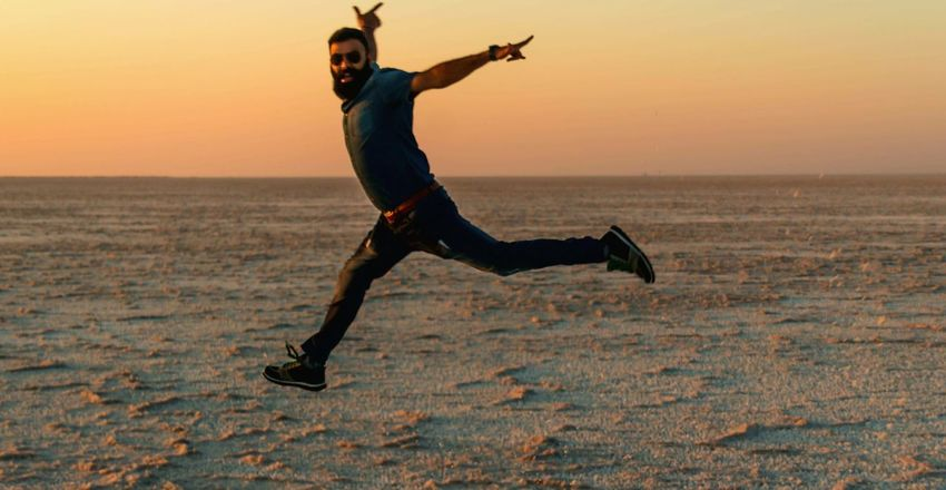 Motion Full Length Freedom Jumping Another Shot Outdoors Happiness Beauty In Nature Scenics Adults Only Ecstatic One Person White Desert Kutch Diaries