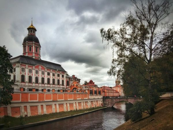 Cloudy autumn Architecture Built Structure Building Exterior River Water Cloud - Sky Sky Cloudy City Outdoors Clouds And Sky Bridge Monastery Autumn St Petersburg Saint Alexandar Nevski Tranquility Scenics Evening Tranquil Scene No People Waterfront Tree Reflection River View