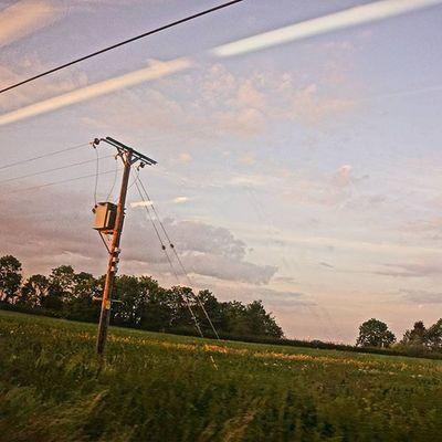 Everything starts somewhere. The beginning of the power line. Photoonatrain Photothroughawindow Field Train Locomotive England Englishcountryside Countryside
