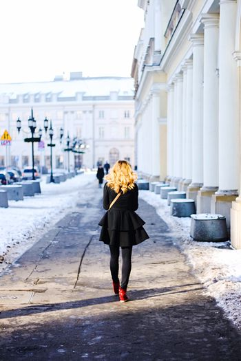 Girl Walking Around City Hair Red Shoes Red Hair Light Winter Warsaw Warszawa  Warsaw Poland Poland The Tourist