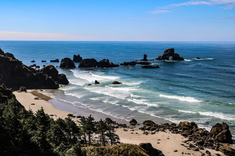Ecola State Park Oregon Coast Sea Water Horizon Over Water Scenics - Nature Beauty In Nature Land Rock - Object Tranquil Scene Tranquility Outdoors Stack Rock Idyllic Nature Rock Beach Horizon No People