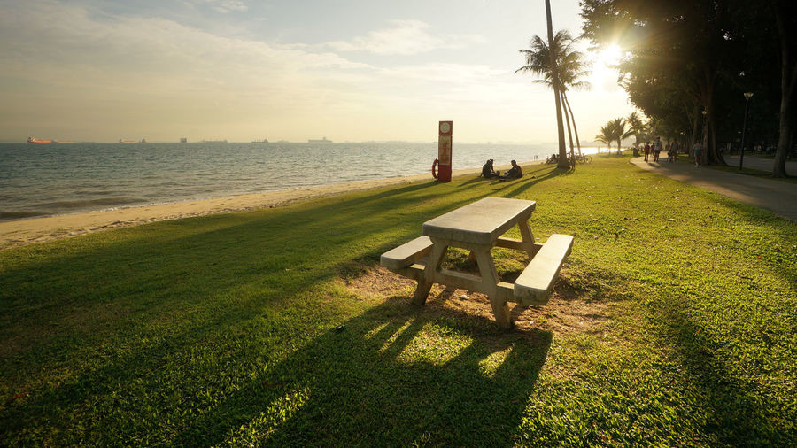 Beauty In Nature Chair Day Empty Grass Green Color Growth Nature No People Outdoors Picnic Table At Sunset Scenics Sea Shadow Sky Sunlight Tranquil Scene Tranquility Tree Water