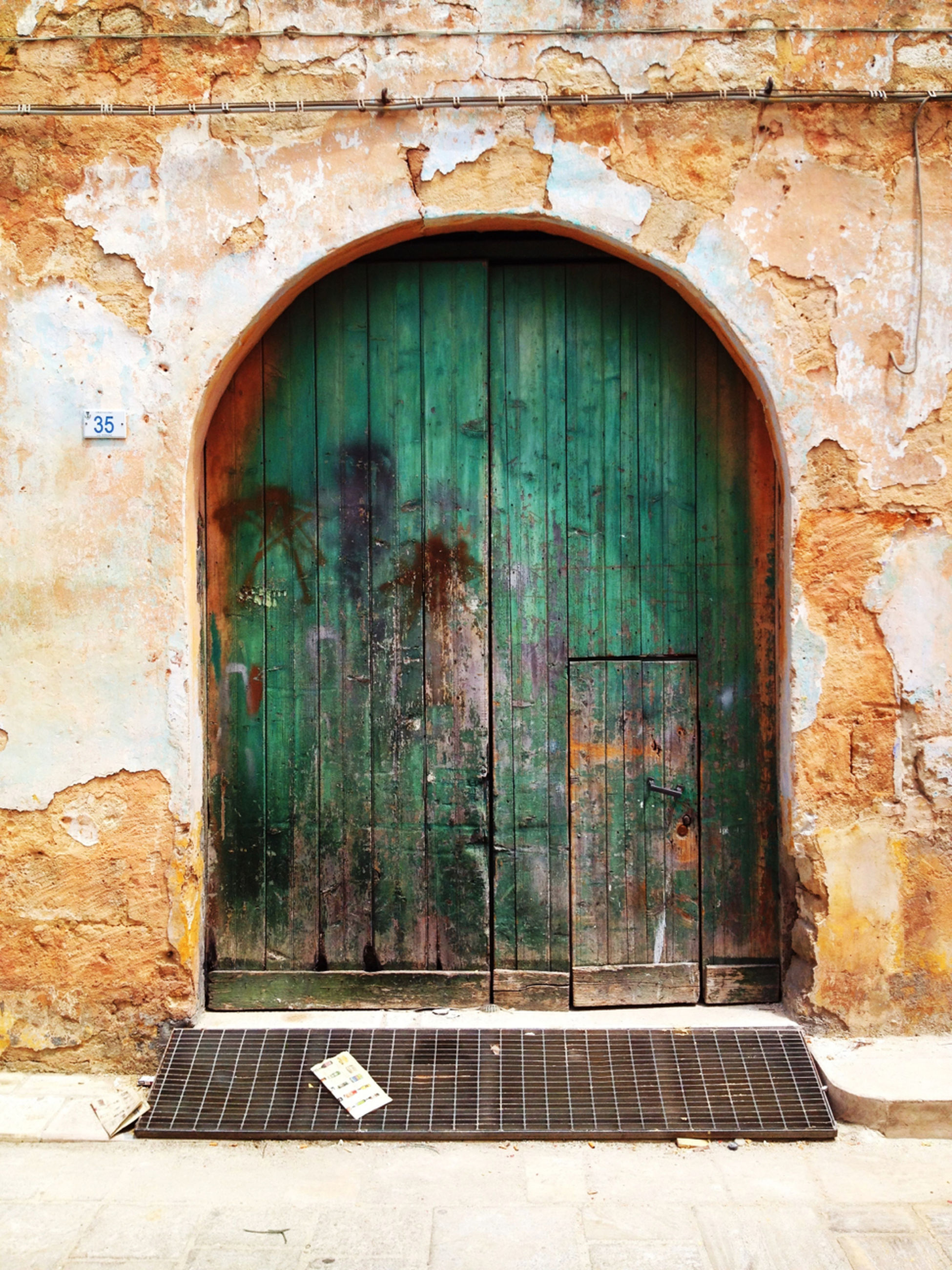 architecture, built structure, building exterior, door, closed, entrance, brick wall, window, house, arch, old, weathered, wall - building feature, safety, wall, protection, doorway, wood - material, closed door, stone wall