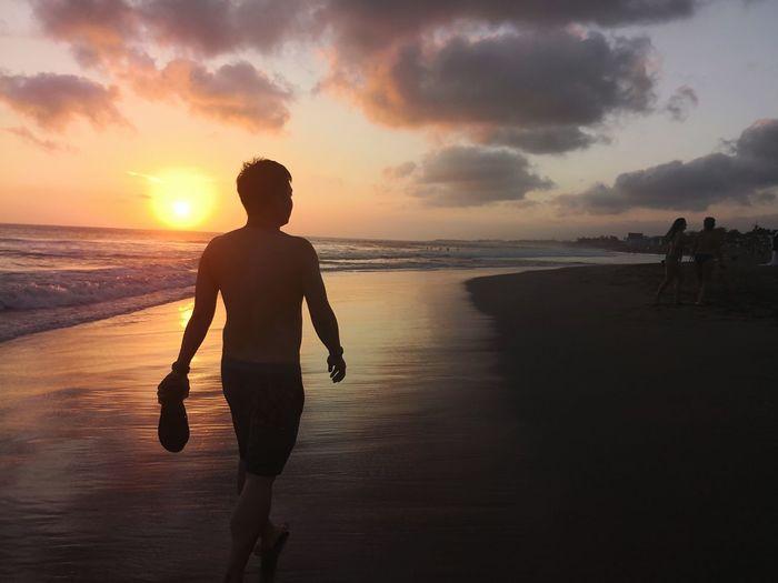 Bali Seminyak Beach Getaway  Wanderlust Water Sea Sunset Beach Standing Human Back Seascape