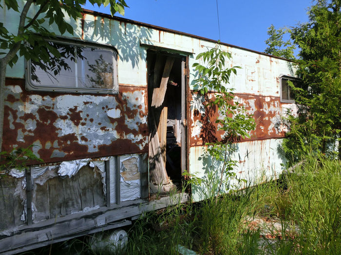 Abandoned Trailer In Forest