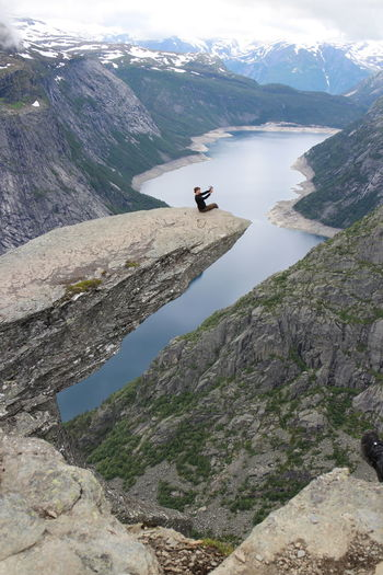 #norway #trolltunga Adventure Beauty In Nature Day Idyllic Landscape Leisure Activity Lifestyles Mountain Nature Non-urban Scene Outdoors Physical Geography Remote Rocky Mountains Scenics Sky Tourism Tranquil Scene Tranquility Vacations Valley