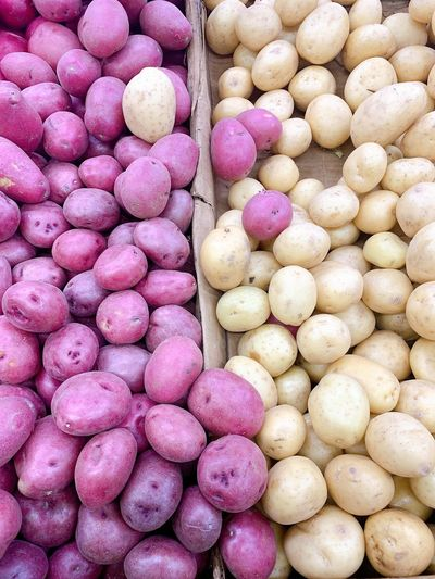 Full frame shot of raw potatoes for sale at market stall