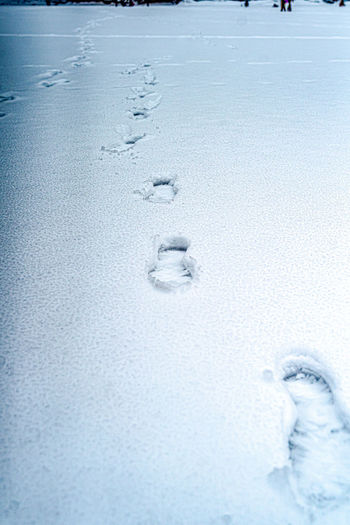 Close-up of footprints on snow covered land