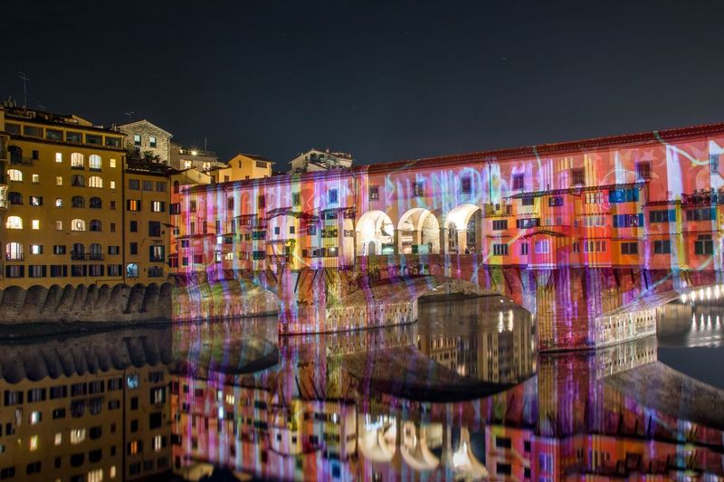 Ponte Vecchio in Florence, Italy. Illuminated Night Reflection Multi Colored Architecture City Outdoors First Eyeem Photo