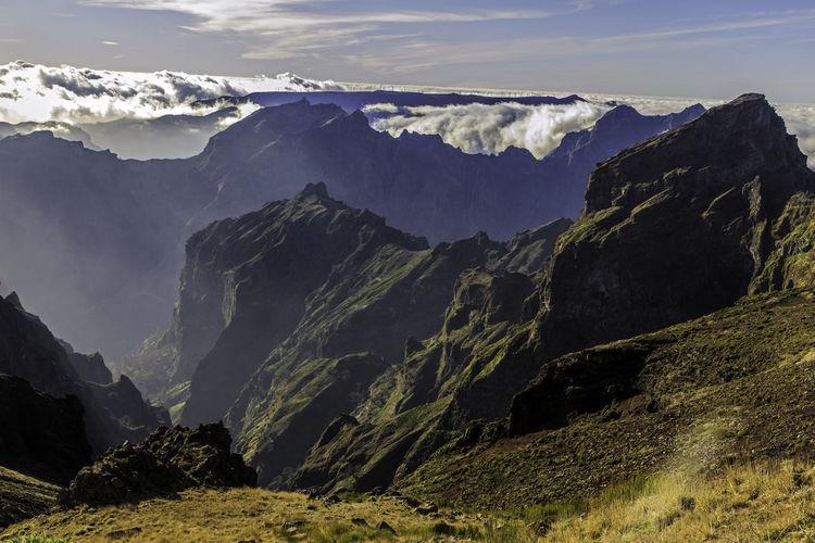 Scenic view of pico do arieiro madeira against sky