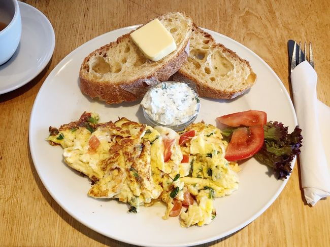 Scrambled eggs breakfast Close Up Bread Plate Nobody Eggs German Breakfast German Food Germany Breakfast Scrambled Eggs Plate Food And Drink Food Ready-to-eat Freshness Table Healthy Eating High Angle View Fork Meal No People Serving Size