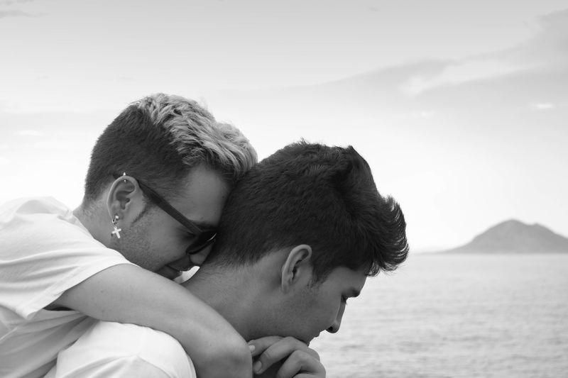 Orgullo Love Homosexual Love Two People Men Togetherness Embracing Romance Couple - Relationship Boys Day Beach Outdoors Summer People Headshot Blackandwhite This Is Queer