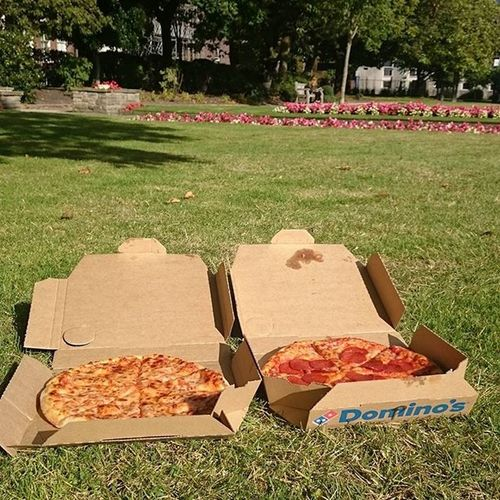 We had joy, we had fun, we had pizzas in the sun... 🎶 Liverpool Sunnyday Abercrombysquare Campus Universityofliverpool Pizza Freepizza Dominospizza Grass Cheese Pepperoni