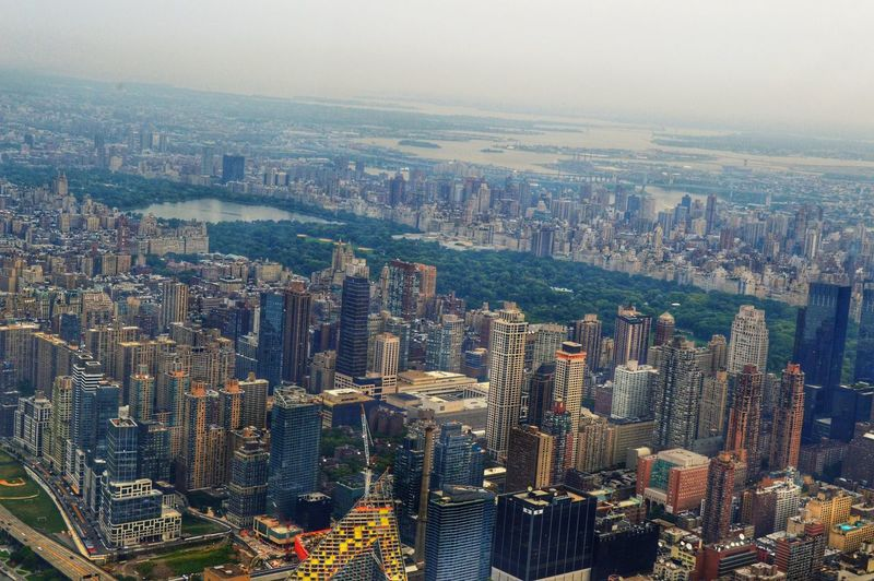 High Angle View Of Central Park Amidst Buildings At Manhattan