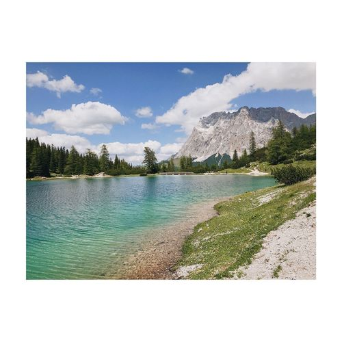 Hello Zugspitze. Hikingadventures Hiking Trekking Lake Österreich Zugspitze Water Sky Auto Post Production Filter Nature Plant Tree Transfer Print Day Cloud - Sky No People Outdoors Beauty In Nature