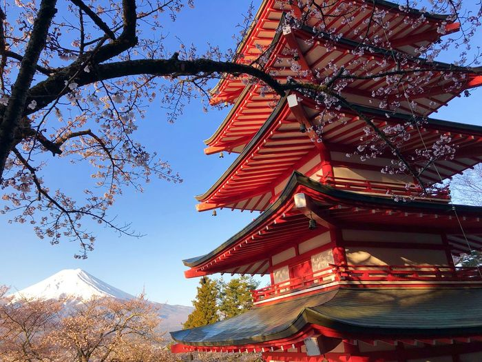 Low angle view of traditional building against sky with mt. fuji