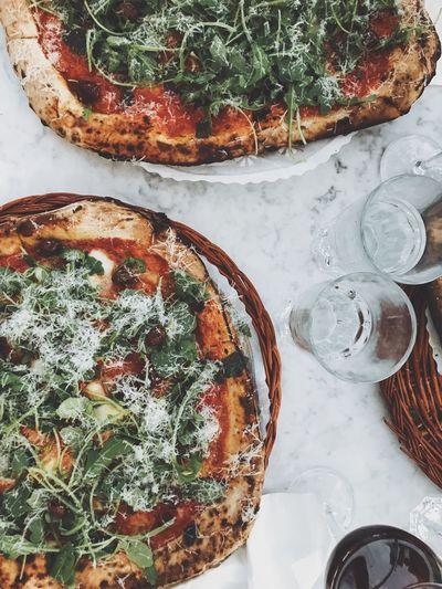 Food Food And Drink Ready-to-eat Freshness High Angle View Bread Healthy Eating No People Indoors  Close-up Day Pizza Pizza Time Pizzatime Overhead View Top Perspective Tabletop Table Serving Size Dish Dough Baked