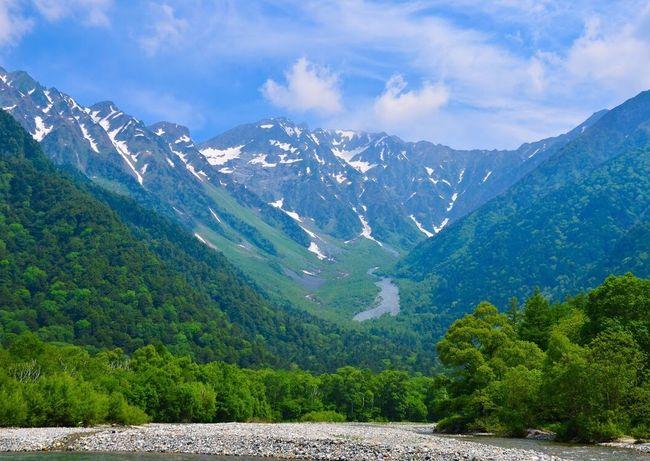 「新緑の季節」 上高地 穂高連峰