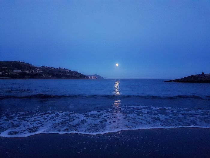 Moon Sea Astrology Sign Astronomy Beauty In Nature Scenics Tranquility Landscape Horizon Over Water Clear Sky Outdoors
