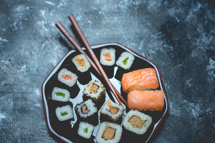 sushi High Angle View Cultures Close-up Sweet Food Sushi Japanese Food Rice - Food Staple Tuna Japanese Culture Served Salmon - Seafood Pastry Salmon Serving Size