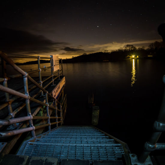 Pier Trossachs National Park Beauty In Nature Boardwalk Handrail  Loch Lomond Luss Metal Stairs Nature Night No People Outdoors Scotlandsbeauty Sky Still Water Walkway Water
