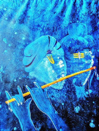 Blue Textured  Love Shiva Shivshambhoo Krishna Onesoul Lord Krishna  LordShiva Acrylic Painting Acrylic Canvas Acryliconcanvasart Multi Colored Sprituality Imagination Symbol Exhibition Rooms Devotion Creativity ArtWork Lord Front View Vibrant Color