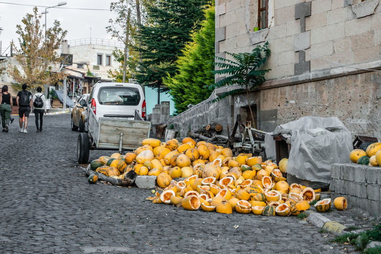 Various fruits on street in city