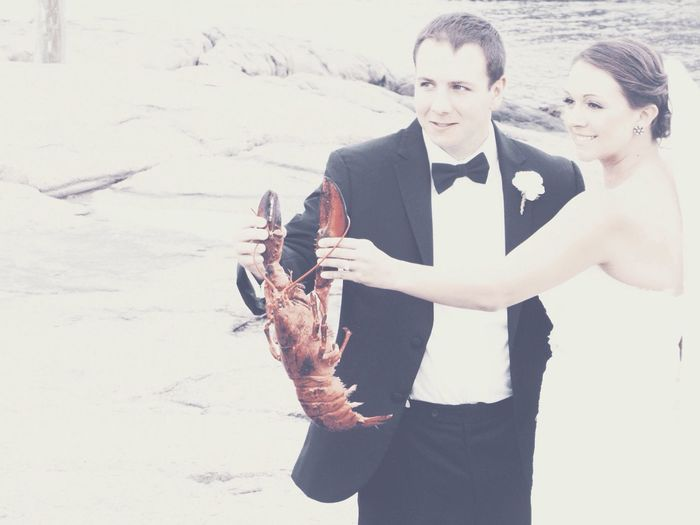 The Human Condition Joy and Happiness Just Married holding Maine Lobster EyeEm Best Shots - People + Portrait