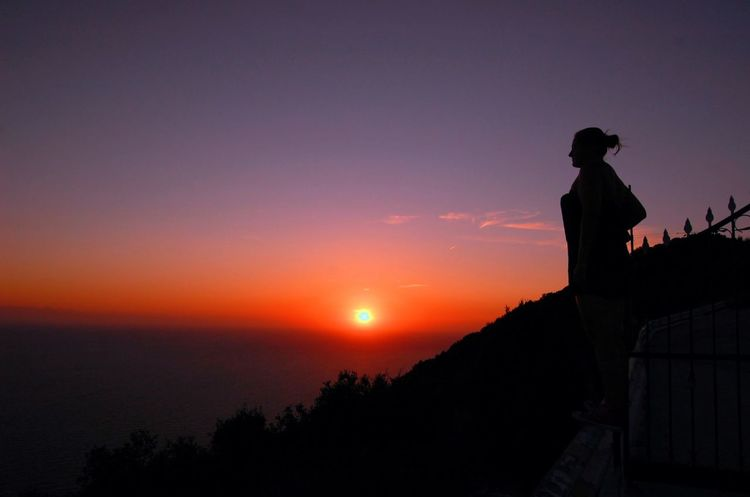 Enjoying the sunset in Corfu Me Mediterranean  Nature Nature Photography Sunset_collection Wonderful Adult Greece Nature Night One Person Outdoors People Silhouette Sky Summer Summernight Sunset Go Higher