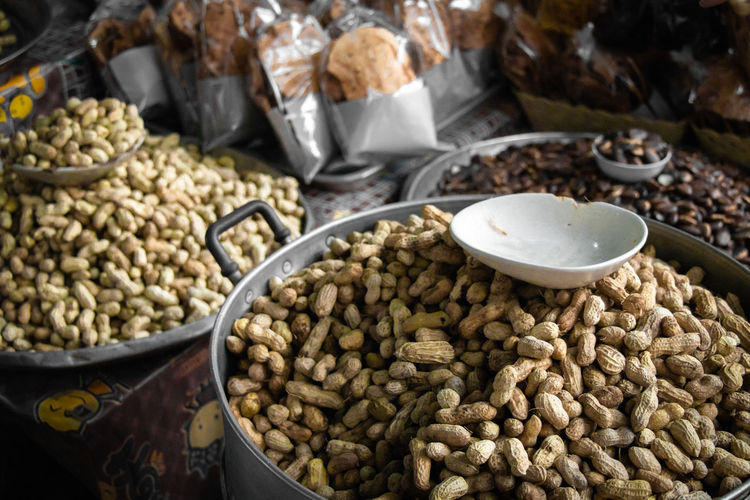 High angle view of peanuts n market for sale