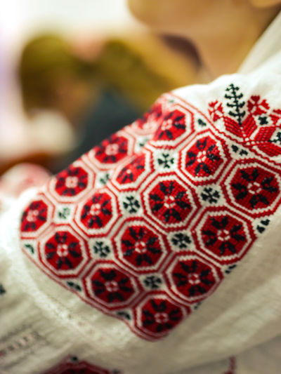 """Ie Romaneasca"" Ie Romania Traditional Culture Traditional Clothing Traditions Close-up Day Focus On Foreground Food Freshness Indoors  No People Pomegranate Red Red And Black Romanian Blouse Seed Traditional Traditional Costume"