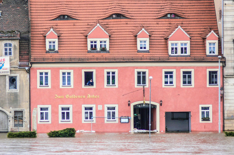 Meissen in Saxony the porcelaine town, Elbe River hig water Desaster Natural, Desaster Struck Sand Bags Helping Architecture Building Exterior Built Structure City Day High Water Level House Outdoors Red Residential Building Waterfront Window