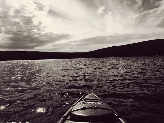 Not ready for winter yet :( Water Nautical Vessel Transportation Mode Of Transport Boat Nature No People Rippled Sea Scenics Beauty In Nature Sky Monochrome Tranquility Outdoors Cloud - Sky Day Sunset Mountain Close-up Kayak Lake Memories On The Water Not Ready To Let Go