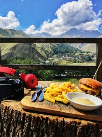 Breakfast in Kazbegi with my travel companion JBL Nikon Nature Kazbegi Georgia Food Food And Drink Cloud - Sky Vacation Trip Travel Roomshotelkazbegi Photography EyeEmNewHere TheWeekOnEyeEM Food Stories