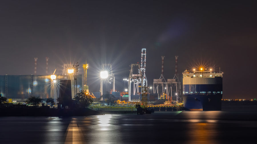 Night scene shot shipping port and factory area