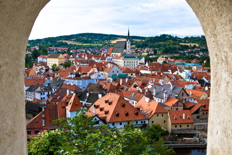 St Vitus Cathedral In City Seen Through Window Of Cesky Krumlov Castle