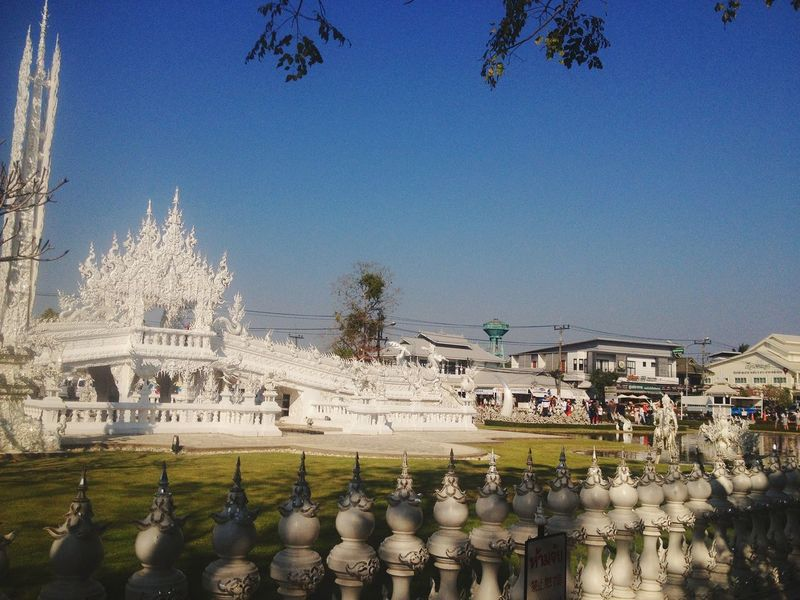 Whitetemple,Wat Rong Khun. Thailand,Bk Temple WatRongKhunWhiteTemple Watrongkhun Thailand Thebest Tree Clear Sky City Blue Sky Architecture